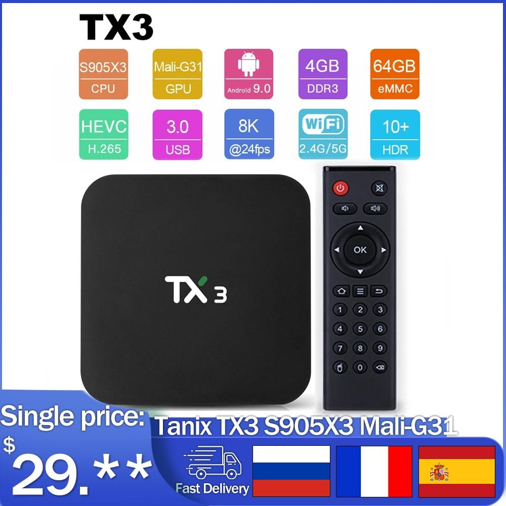 ТВ-приставка Tanix TX3, Android 9,0, Amlogic S905X3, 8K, 4 + 32/64 ГБ, 2,4/5 ГГц, Wi-Fi