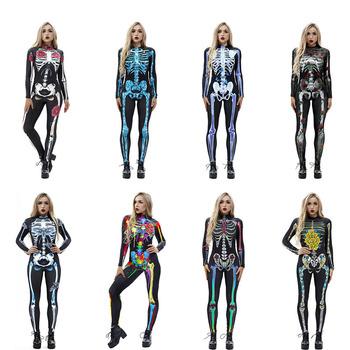 Straszny Halloween szkielet nadruk w kości kostium dla dorosłych kobiet Horror karnawał żarty Catsuit kombinezon z długim rękawem body dla pani tanie i dobre opinie FancyQube WOMEN Poliester S M L XL 250g