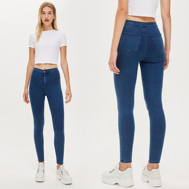 2019 Autumn and Winter European And American Style Slim Thin Hip High Waist Tight Jeans Women's Trousers High Elastic Feet Pants 2
