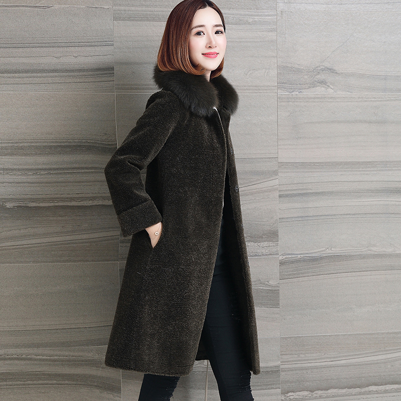 Wool Real Fur Coat Female Sheep Shearling Womens Coats 2020 Winter Jacket Women Natual Fox Fur Collar Plus Size OT1877         S