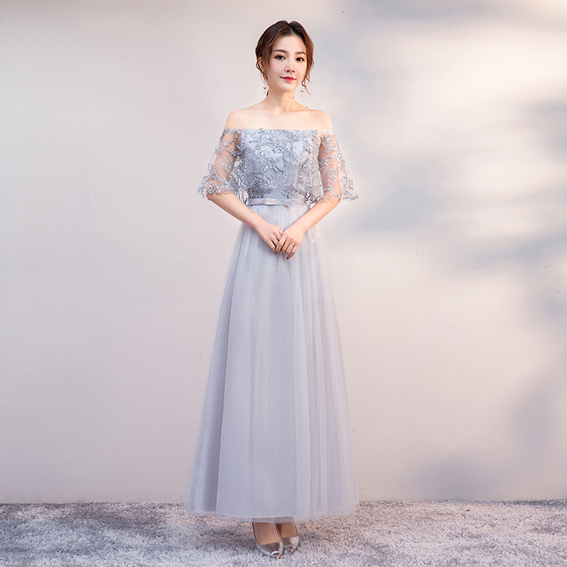 Boat Neck Bridesmaid Dress Long Sleeveless Vestido Azul Marino Elegant Dress Women For Wedding Party Long Simple Dress Sexy Prom