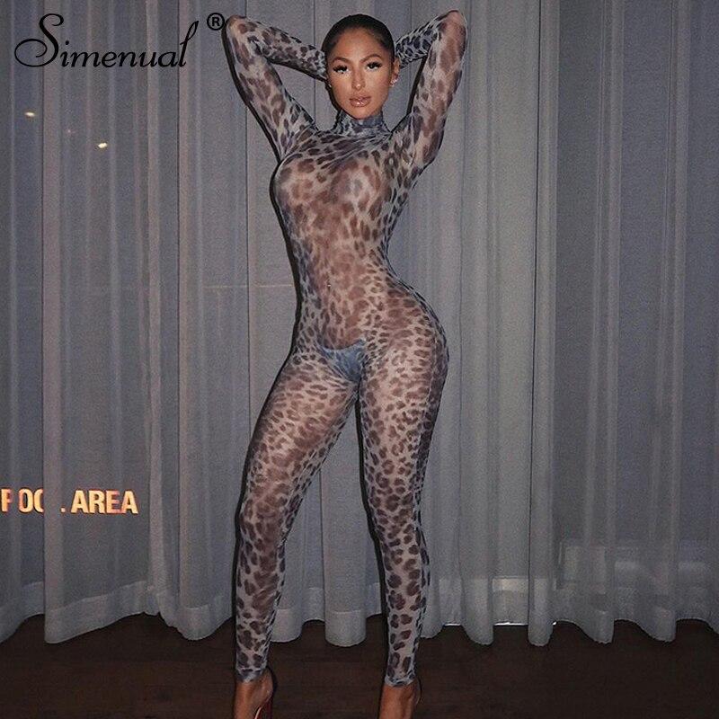 Simenual sıcak seksi örgü kulüp kıyafetlerini görüyor leopar uzun tulumlar kadın moda parti Bodycon uzun kollu Hollow Out şeffaf tulum