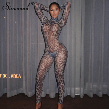 Simenual Hot Sexy Mesh See Through Club Leopard Long Jumpsuits Women Fashion Party Bodycon Long Sleeve Hollow Out Sheer Jumpsuit 2020 new fashion women mesh sheer long sleeve see through shirt jumpsuit bodysuit party club dress stretch leotard blouse tops