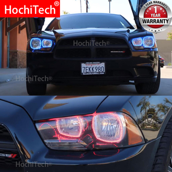 for Dodge Charger SXT Plus 2011 2012 2013 2014 RGB Multi Color LED Angel Eyes Halo Rings Kit