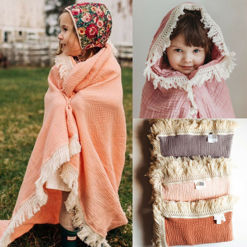 Newborn Toddler Baby Girls Boys Blanket Swaddling Vintage Tassel Swaddle 100% Cotton Solid Soft Blanket