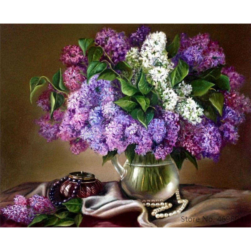 Painting By Numbers Frameworks Coloring By Numbers Home Decor Pictures Flowers Vase Decorations RSB8157