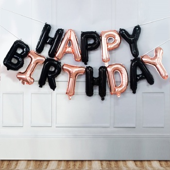 16inch Globos Birthday Balloon Decoration Rose Gold Happy Birthday Foil Balloons Set Party Banner Kids Supplies 2