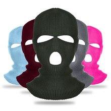 Chapéu de malha chapéu de inverno elástico gorro chapéu quente máscaras para equitação beanies à prova de vento para homem máscara facial completa 3 buracos balaclava