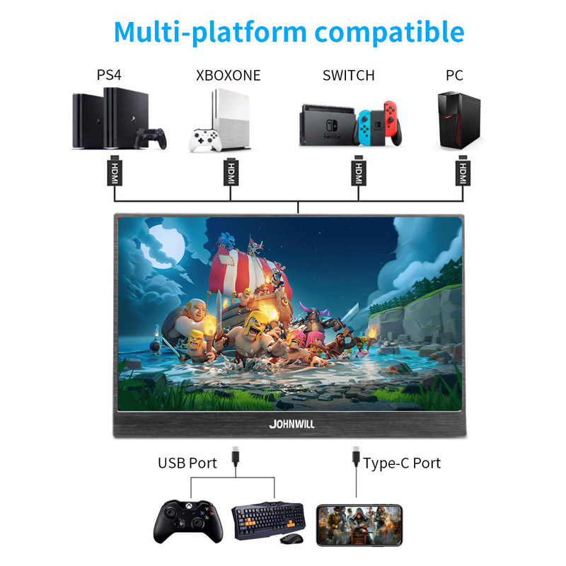 17.3 inch HD 4K IPS Draagbare gaming Screen monitor PC 3840X2160 voor PS3 PS4 Macbook 13.3 15.6 LCD USB C HDMI Computer monitor - 5