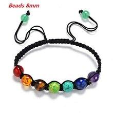 Bracelet de Yoga pour hommes et femmes, 7 chakras, perles déquilibre de guérison, 8mm, prière, Reiki, Bracelet de Yoga, pour femmes