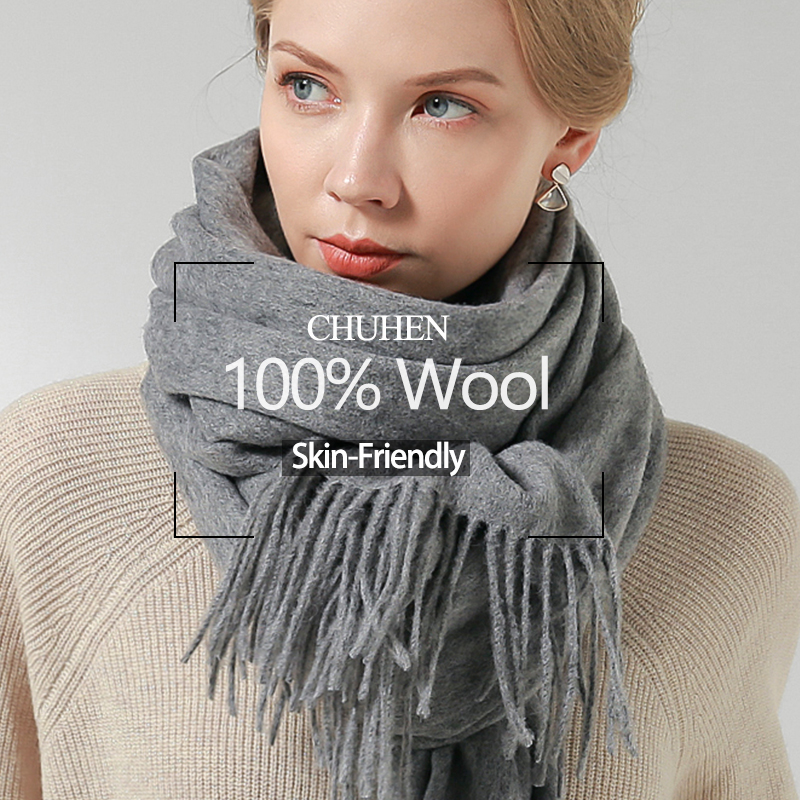100% Pure Wool Scarf Women 2019 Brand Warm Shawls And Wraps For Ladies Foulard Femme Solid Warps Winter Cashmere Wool Scarves
