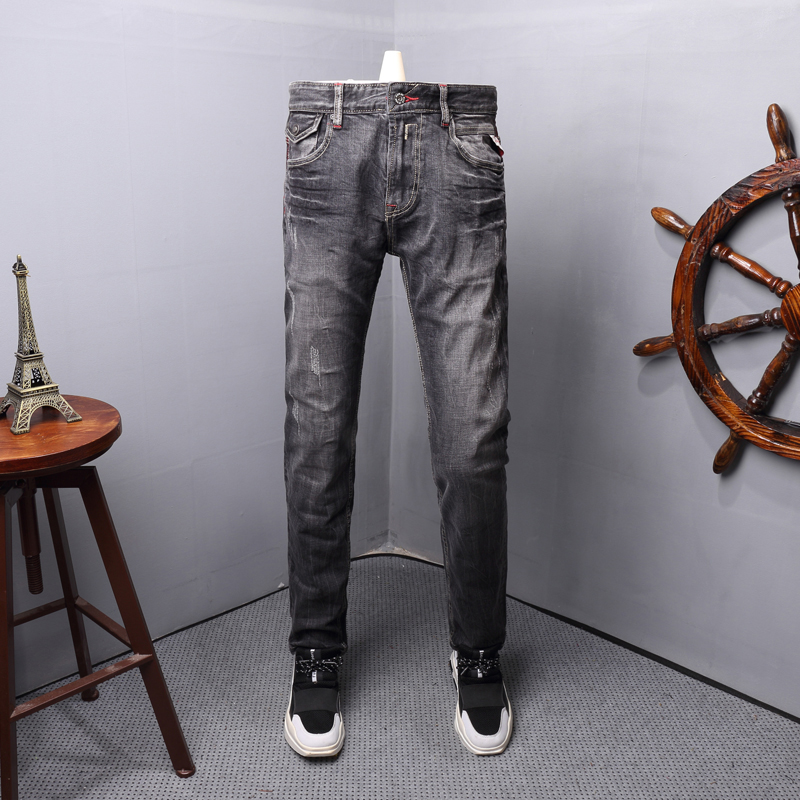 Italian Style Fashion Men Jeans Black Gray Color Ripped Jeans Men Classical Denim Pants High Quality Vintage Designer Jeans