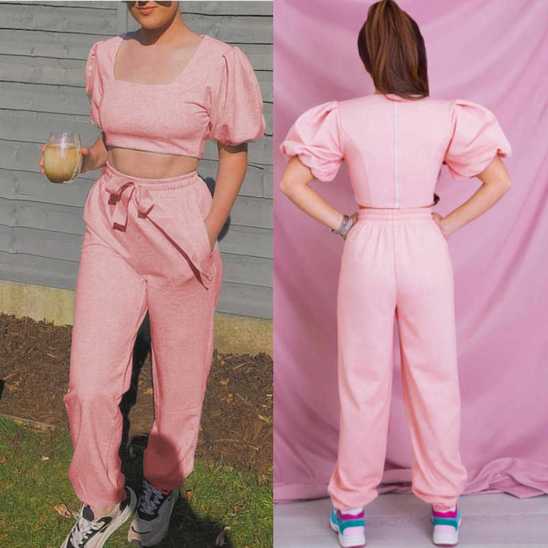 סתיו שתי חתיכות סטי נשים בציר כיכר צווארון פאף שרוול יבול צמרות & מלא אורך מכנסיים מכנסיים נשים מקרית להאריך ימים יותר חליפות