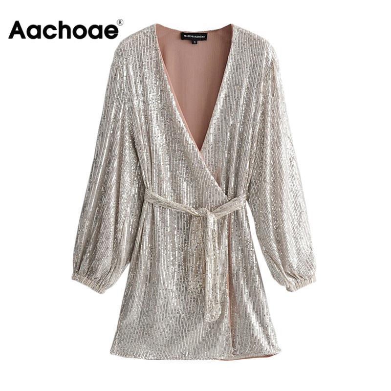 Aachoae Women Sequin Party Dress Deep V-neck Sexy Club Bodycon Dress Elegant Lantern Long Sleeve Mini Dress Vestidos De Fiesta