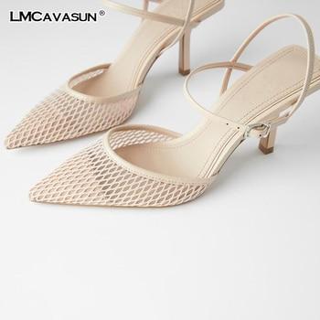LMCAVASUN 2020 Fine heel Heel Sandals Pointed Toe Mesh Slingback  Sandals For Women Party Shoes Shoes Elegant Pumps Shoes