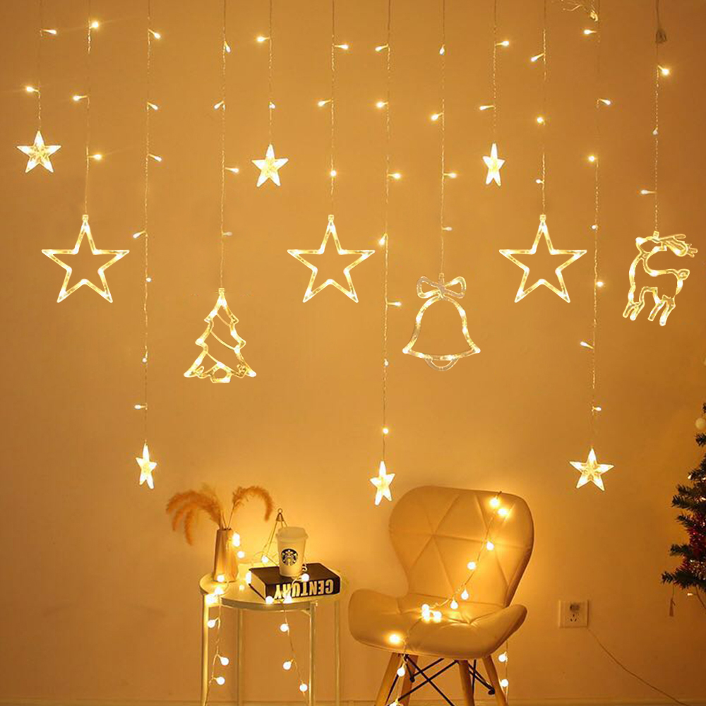 3 5M 220V LED Moon Star Lamp Christmas Garland String Lights Fairy Curtain Light For New Year Party Bar Wedding Holiday Decor