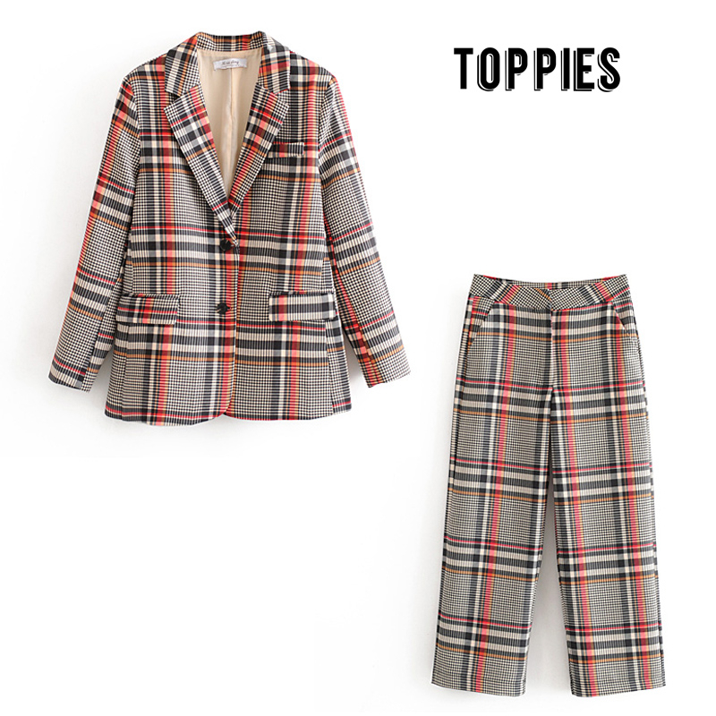 Vintage Plaid Suit Set Womens Blazer And Pants Formal Work Two Piece Set Single Breasted Jacket