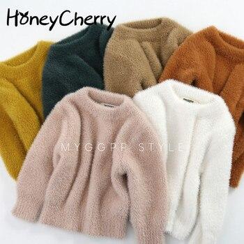 Girls' Sweaters Winter Wear New Style Imitation Mink Jacket Sweater 1-3 Year Old Baby Warm Coat Kids Sweaters