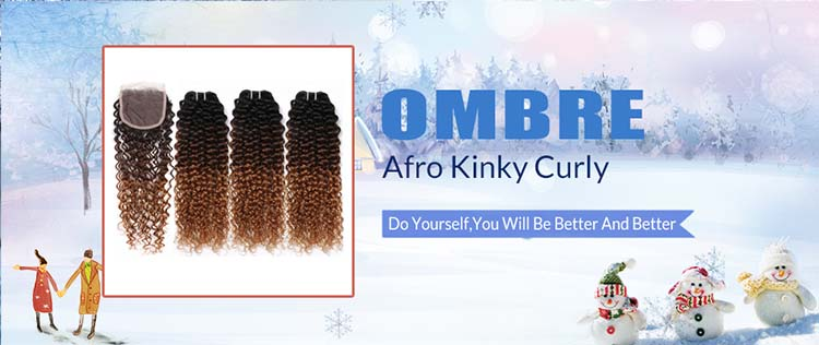 H917734b363894bbdb513c9609d75cf67h Ombre SPARK Brazilian Human Hair Weave Bundles With Closure Afro Kinky Curly Hair With Closure Medium Ratio Remy Human Hair