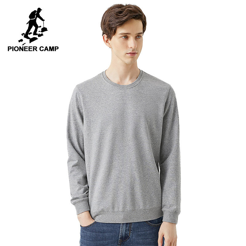 Pioneer Camp 2020 New Spring Basic Solid Swearshirts For Men O-neck Pullover Casual Cotton Hoodies For Male 305083A