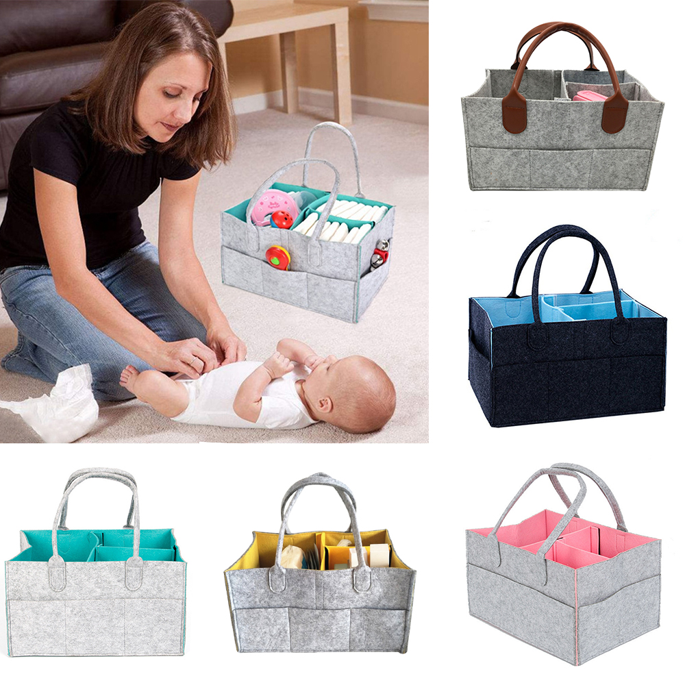 CYSINCOS Felt Cloth Storage Bag Foldable Baby Large Size Diaper Caddy Changing Table Organiser Toy Storage Basket Car Organizer