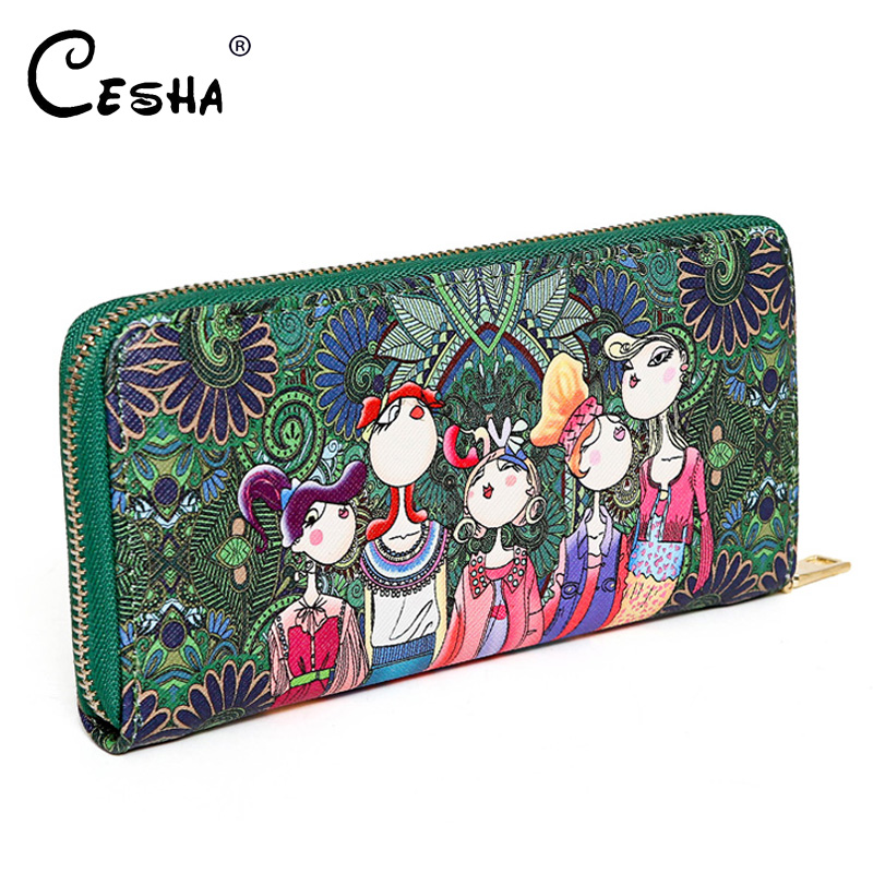 Fashion Blue Cartton Pattern Women Long Standard Wallet High Quality PU Leather Purse Pretty Style Girls Lovely Clutch Wallets