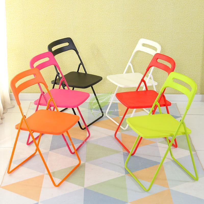 Folding dining chair stool back plastic portable simple modern creative chair training office home outdoor adult dining table