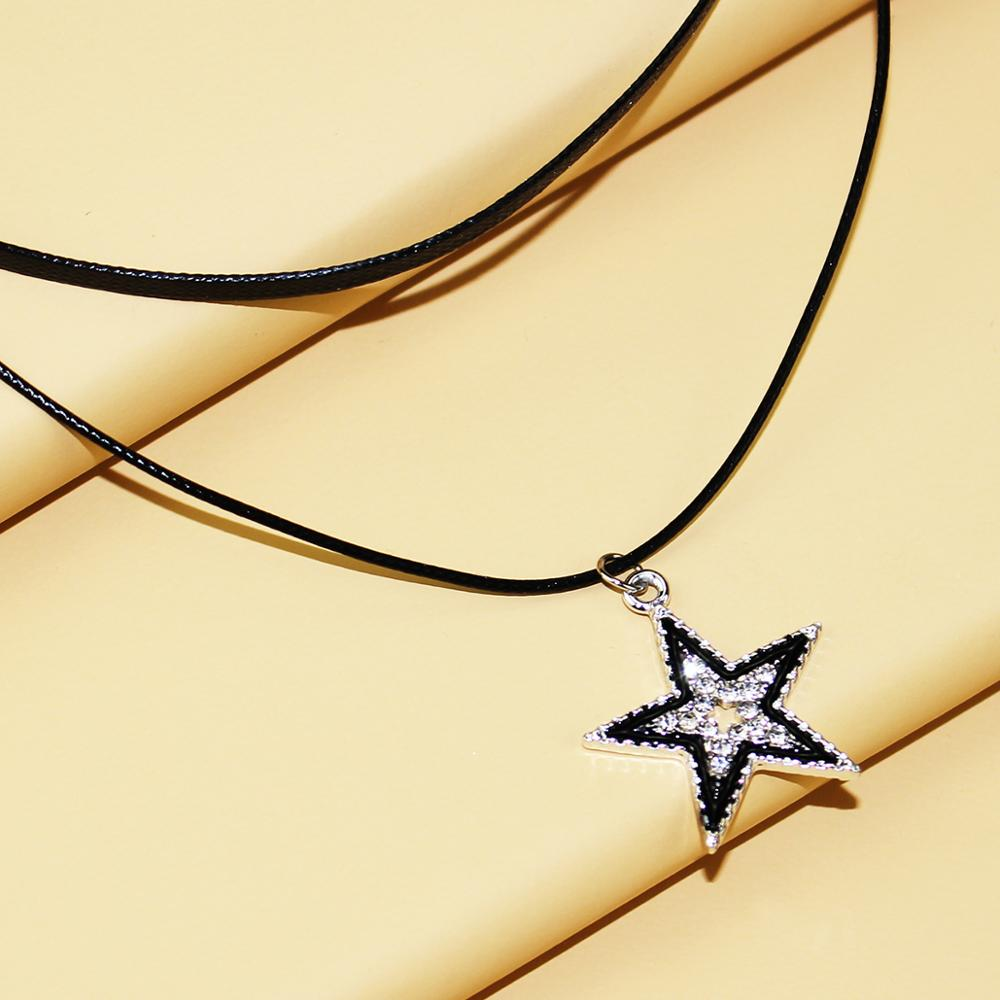 Five-pointed star double necklace female hipster net red clavicle chain neck jewelry temperament necklace women
