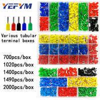 Boxed tubular terminal verschiedene stile elektrische verdrahtung stecker crimpen isolierte rohr terminals set für 0,5 mm2-10mm2 draht