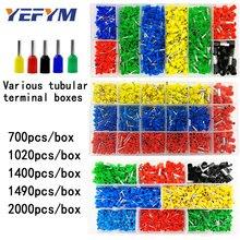 Terminal tubular en caja varios estilos Conector de cableado eléctrico prensado conjunto de terminales de tubo aislado para alambre de 0,5 mm2-10 mm2