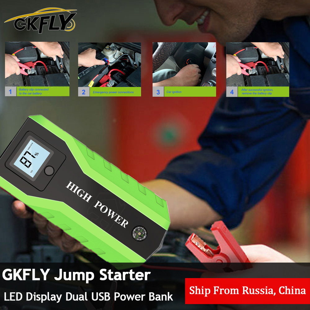 GKFLY Emergency 20000mAh Starting Device <font><b>1000A</b></font> 12V <font><b>Car</b></font> <font><b>Jump</b></font> <font><b>Starter</b></font> Power Bank <font><b>Car</b></font> Charger For <font><b>Car</b></font> Battery Booster Buster LED image