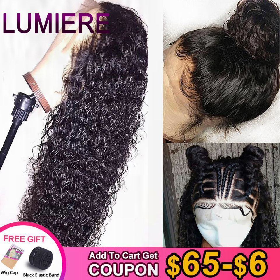 Lumiere Hair Indian Water Wave Human Hair Wigs 360 Lace Frontal Wig With Baby Hair Pre-Plucked Non Remy Lace Wig Natural Black