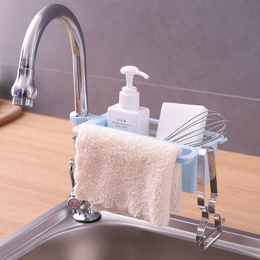 1PC Kitchen Sink Sponge Plastic Storage Rack Dish Drain Soap Brush Organizer Kitchen Bathroom Accessories Towel Rack Holder 1