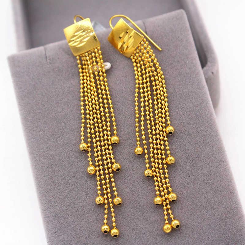 تعزيز! الجملة 24k الذهب شغل انخفاض الأقراط للنساء ، الذهب الخالص اللون متعددة خط الكرة أقراط للأذن على شكل سلسلة Brincos مجوهرات هدية
