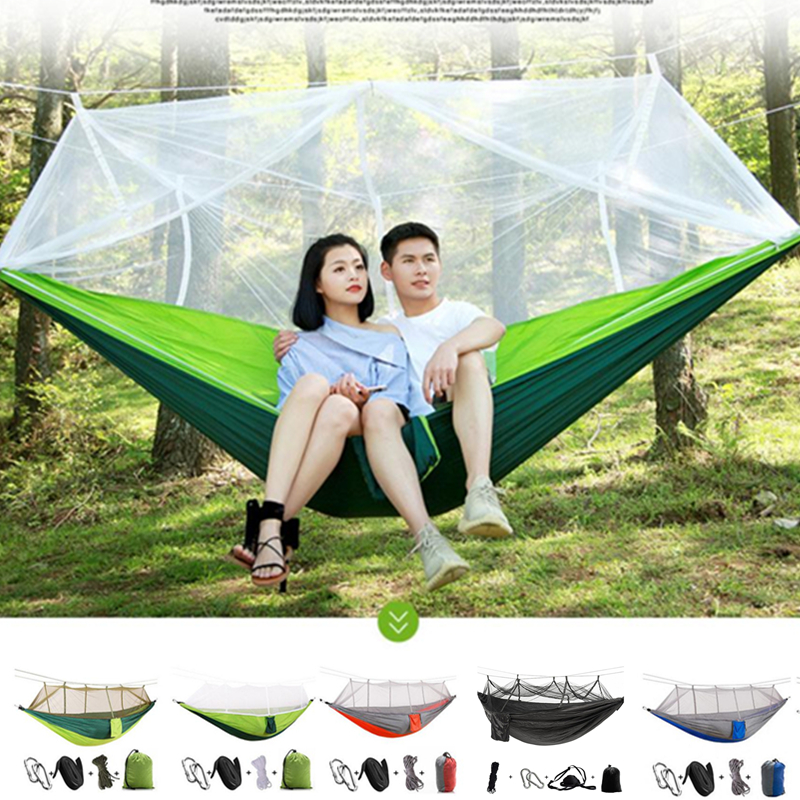 1-2 Person Outdoor Mosquito Net Parachute Hammock Tent Camping Hanging Sleeping Bed Swing Portable Double Chair Hamac 13 Colors