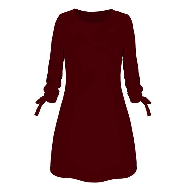 платье женское Hot Sale Winter Dress Women Fashion Solid Plain Bowknot Elegant Dress Spring Loose Dress ropa mujer