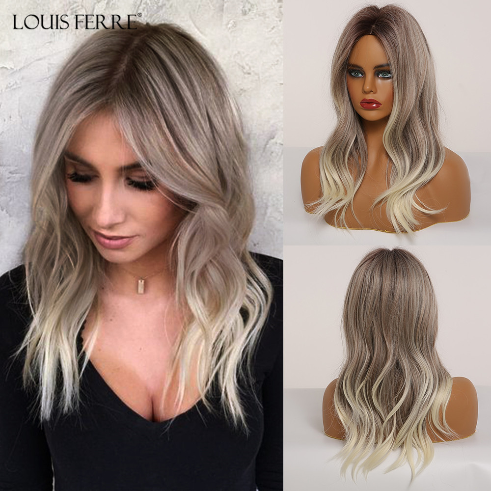 LOUIS FERRE Medium Black Brown Gray Ash Light Blonde White Ombre Synthetic Wig Woman Wave Middle Part Cosplay Wig Heat Resistant