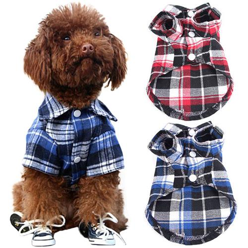 Pet Dog Clothes For Small Dog Spring/Summer Fashion Plaid Shirt Clothing Puppy Dog Shirts Vest Clothes Kitten Outfits 3 Colors