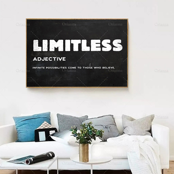 Canvas Painting Limitless Inspirational Street Hustle Quote On Canvas Wall Art Picture Canvas Painting For Home Decor Cuadros image