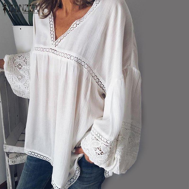2019 ZANZEA Elegant Lace Patchwork Blouse Women Tunic Sexy V Neck Puff Sleeve Blusas Mujer Female Autumn White Shirts Plus Size