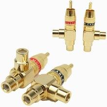 4Pcs HIFI Copper Audio Splitter Plug RCA 1 Male To 2 Female AV Socket Connector Adapter