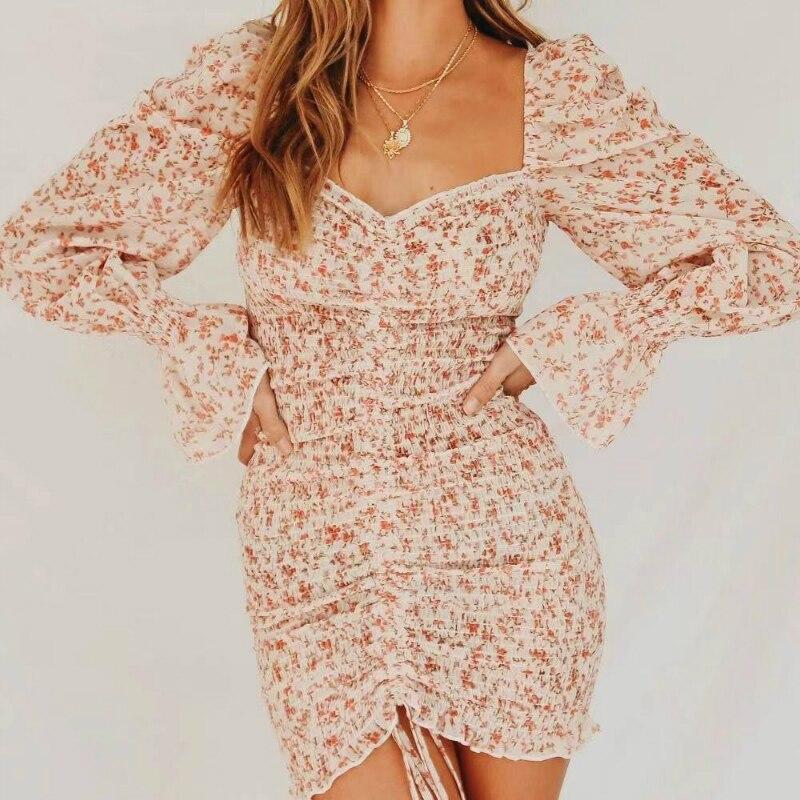 2020 Trendy Square Neck Floral Print Dress Women Long Sleeve Bodycon Mini Dress Boho Beach Dress for Girls Party Clothing 11