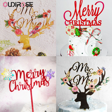 New Acrylic Merry Christmas Cake Topper Deer Snowflake Birthday Cupcake Toppers Cakes Decoration Kids Xmas Party Decor Supplies