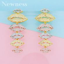 Newness Fashion Cubic Zirconia lips shape Big Long Earring For Women Jewelry Wedding Brincos boucle d'oreille high quality baguette shape red cubic zirconia women long drop wedding prom earring jewelry for women