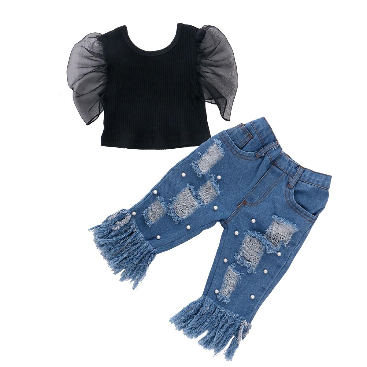 Mode Kinder Baby Mädchen Kleidung Schwarz Rüschen Spitze Hülse Tops Rippen Bluse Denim Hosen Quaste Loch Jeans Herbst Outfit 2pcs Set