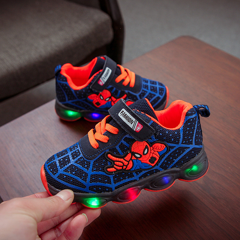 Spider man cool baby first walkers LED lighting baby sneakers tennis hot sales high quality glowing baby toddlers girls boys