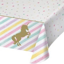 Unicorn Tablecloth Party-Supplies Birthday Decor Baby Shower Wedding-Event Gold