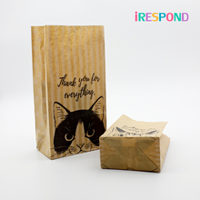 50PCS Craft Paper Bags Small Cookie Candy Sweet Bag Gift Packaging Wedding Favors Birthday Home Party Cat Kraft Pouch