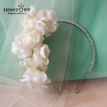 Luxury Wedding Handmade Lace Ribbon Floral Flower Pearl Beads Crystal Hairbands ,Bride Hair Accessories