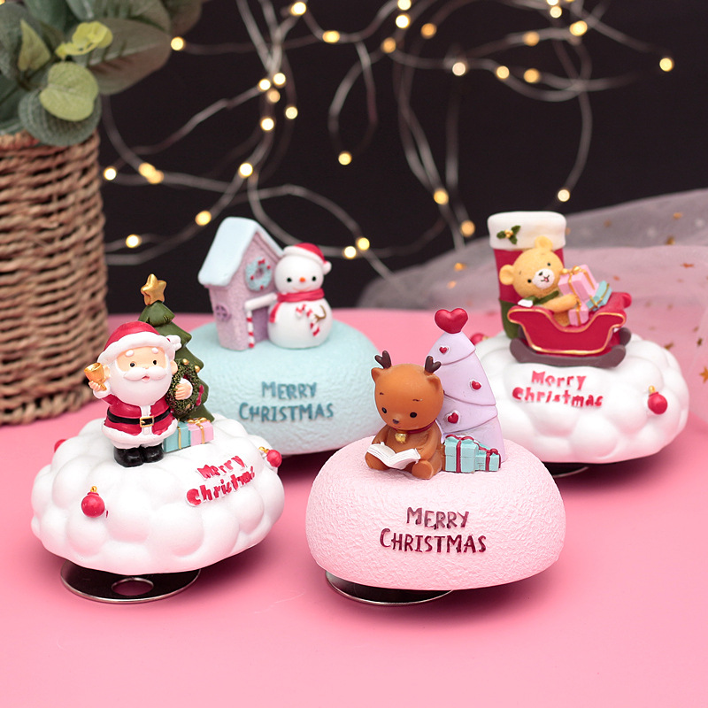 Diy Hand Crank Music Box Christmas Ornaments Song Santa Claus Musical Boxes Engraved Music Box Birthday Gift For Friend II50YYH image